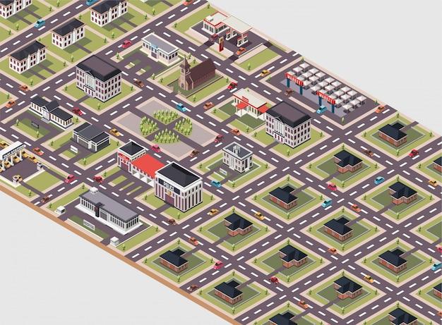 Ein stadtplan mit verschiedenen gebäudetypen isometrische darstellung