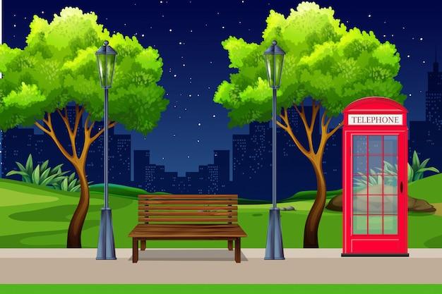 Ein städtischer park bei nacht