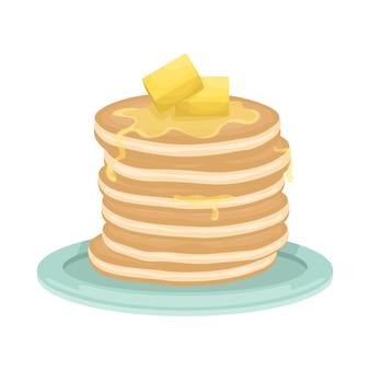 Ein stapel gebratener pfannkuchen mit butterscheiben. leckeres frühstück. karikaturillustration.