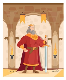 Ein starker könig mit einem schwert auf schlosshintergrund.