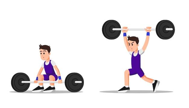 Ein starker mann mit einigen gewichtheber-posen