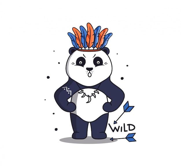 Ein starker panda im boho-stil mit pfeilen und federn.