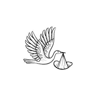 Ein storch mit einem eingewickelten baby handgezeichnete umriss-doodle-symbol. neugeborene lieferung und babydusche konzept vektorgrafik skizze für print, web, mobile und infografiken isoliert auf weißem hintergrund.