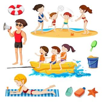 Ein Strand Set Aktivität und Menschen