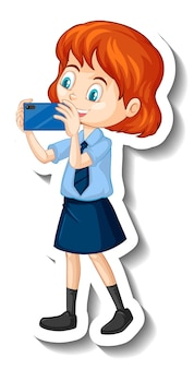 Ein student mädchen-cartoon-charakter-aufkleber