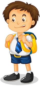 Ein studentenjunge-cartoon-charakter isoliert auf weißem hintergrund