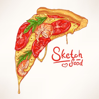 Ein stück handgezeichnete appetitliche pizza mit garnelen