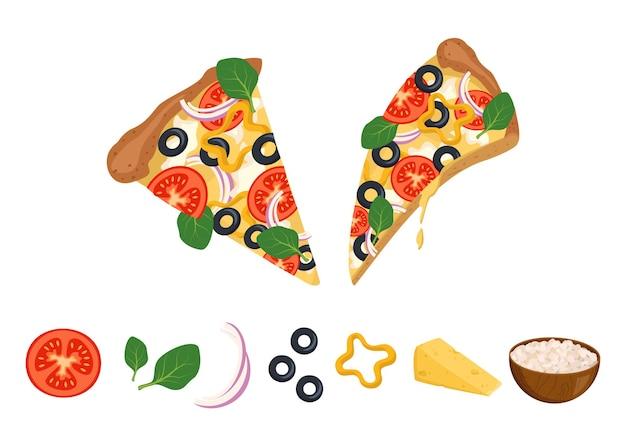 Ein stück pizza mit geschmolzenem käse, tomaten, oliven und basilikum und zutaten