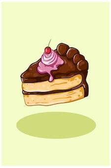 Ein stück schokoladenkuchen mit kirsche und sahne
