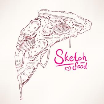 Ein stück skizze appetitliche peperoni-pizza