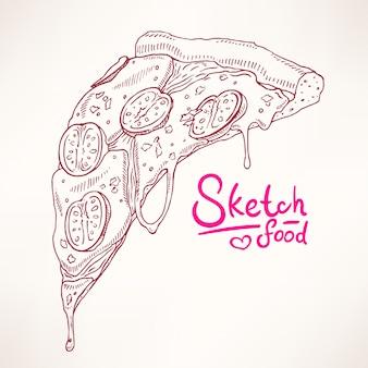 Ein stück skizze appetitliche pizza margherita