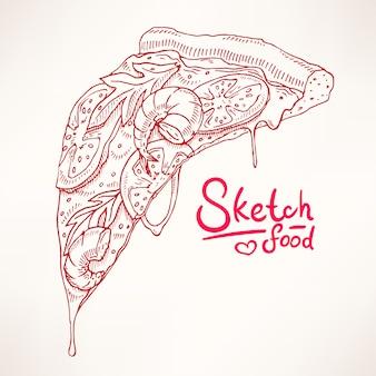 Ein stück skizze appetitliche pizza mit garnelen
