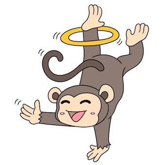 Ein süßer affenjunge, der mit einer hand einen stehenden zirkus durchführt, doodle-symbolbild. cartoon charakter süßes gekritzel zeichnen