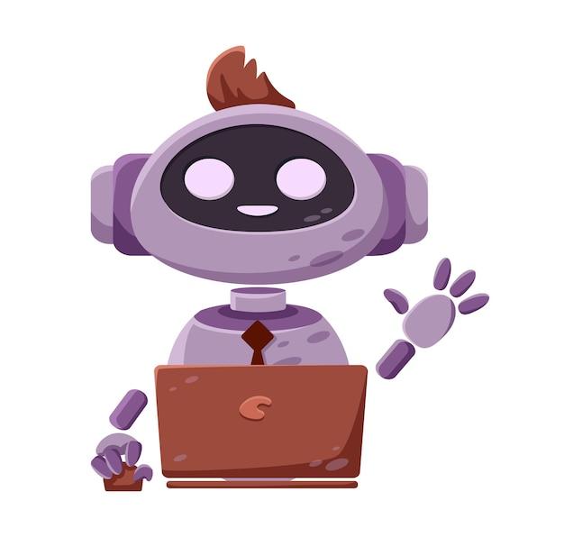 Ein süßer chuck-bot-roboter, der im interface-fenster erscheint, um benutzerfragen zu beantworten
