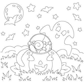 Ein süßer geist hat einen kürbis mit süßigkeiten auf dem feld gefunden malbuchseite für kinder halloween thema