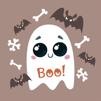 Ein süßer geist mit einem lächeln fledermäuse und knochen vektor-illustration eines halloween-charakters
