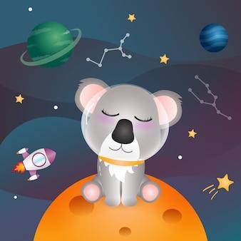 Ein süßer koala in der weltraumgalaxie