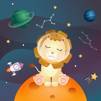 Ein süßer löwe in der weltraumgalaxie