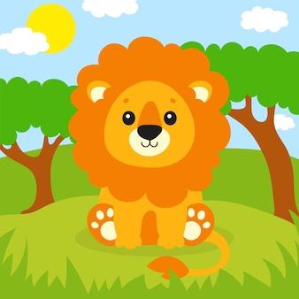 Ein süßer löwe steht auf dem gras schöne landschaft