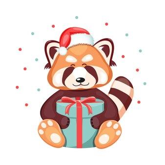 Ein süßer panda in weihnachtsmütze hält geschenkbox.