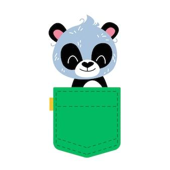 Ein süßer panda lugt aus einer grünen tasche vektor-illustration im cartoon-stil für kinder