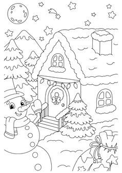 Ein süßer schneemann steht am weihnachtshaus malbuchseite für kinder