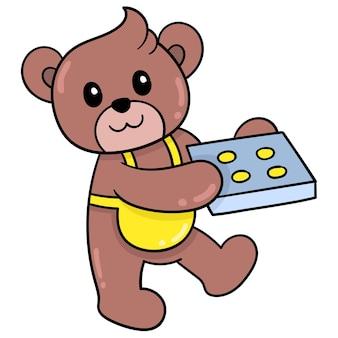 Ein süßer teddybär trägt ein backblech gefüllt mit gekochten kuchen, vektorgrafiken. doodle symbolbild kawaii.