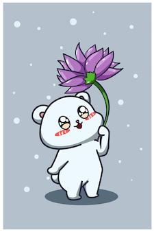 Ein süßer und glücklicher babybär mit lila blumenkarikaturillustration
