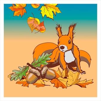 Ein süßes eichhörnchen sitzt auf dem boden zwischen blättern und eicheln. banner mit bunten herbstelementen. illustration. herbst banner hintergrund.