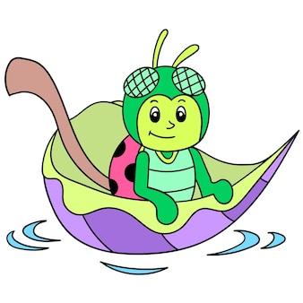Ein süßes fliegeninsekt, das auf einem blattboot reitet, das in der flut weggespült wurde, vektorillustrationskunst. doodle symbolbild kawaii.