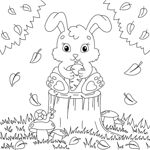 Ein süßes kaninchen hält eine karotte in seinen pfoten malbuchseite für kinder
