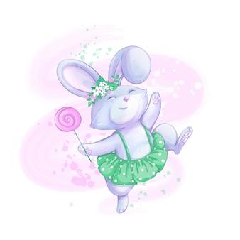 Ein süßes kaninchenmädchen in einem grünen rock und einem blumenkranz springt glücklich. süßer lutscher