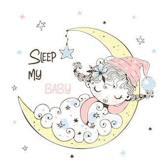 Ein süßes kleines mädchen im schlafanzug schläft auf dem mond.