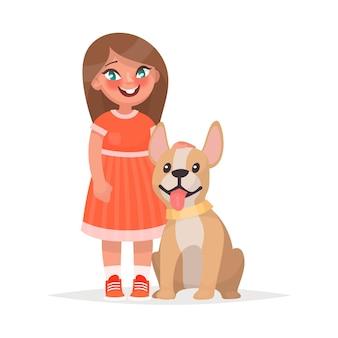 Ein süßes kleines mädchen und ein hund auf einem weißen. eines cartoon-stils
