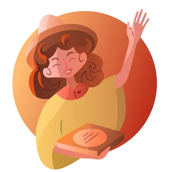 Ein süßes lächelndes mädchen in sombrero und poncho winkt warm mit der hand und hält eine schachtel pizza in den händen. farbe isoliert freundlichen charakter mexikanisches essen lieferung mädchen. bild für online-shop.