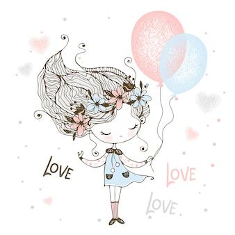 Ein süßes mädchen in einem kranz aus blumen steht mit luftballons.