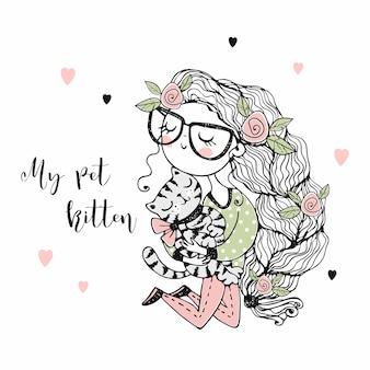 Ein süßes mädchen mit einem vollen zopf hält ihre haustierkatze. doodle-stil.