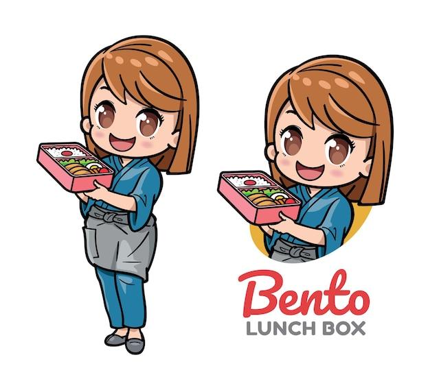 Ein süßes mädchen präsentiert bento-lunchbox