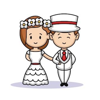Ein süßes paar braut und bräutigam gerade verheiratet