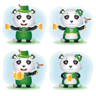Ein süßes panda-paar mit traditionellem oktoberfestkleid