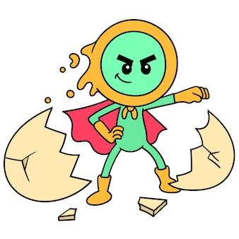 Ein superheld, der aus einem ei geboren wurde, doodle draw kawaii. illustrationskunst