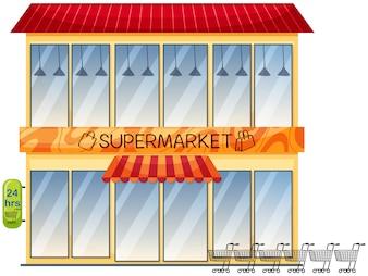Ein Supermarktgebäude auf weißem Hintergrund