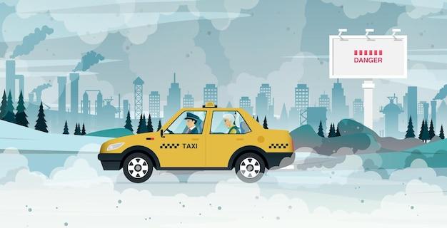 Ein taxi fährt passagiere in eine stadt voller rauch und umweltverschmutzung durch autos und industrie.