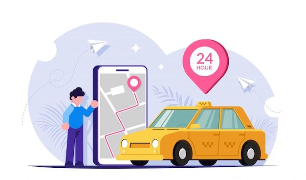 Ein taxi über eine mobile app rufen. karte der stadt auf dem telefonbildschirm. leute in der nähe eines großen telefons und eines grünen autos.