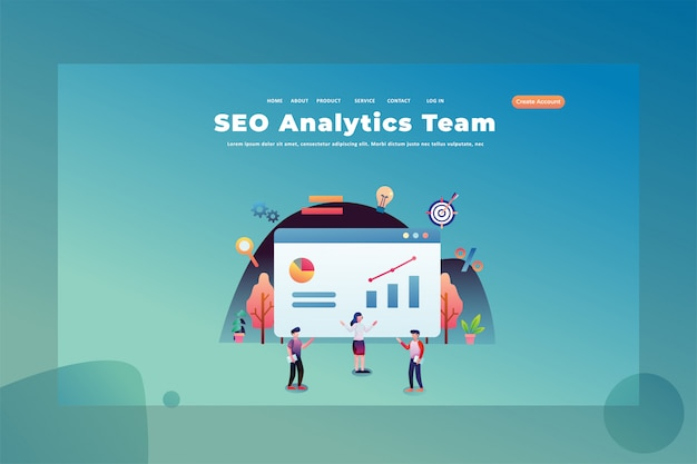 Ein team, das für seo analytic web page header landing page template illustration arbeitet