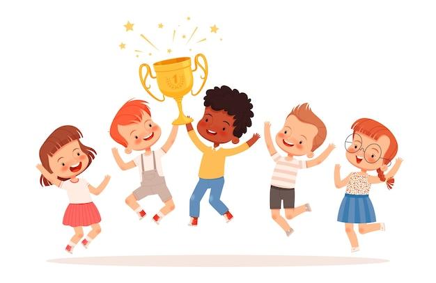 Ein team süßer kinder gewann den wettbewerb. jungen und mädchen haben den goldpokal gewonnen und freuen sich über den sieg. teamwork-konzept für kinder. isoliert auf weißem hintergrund.