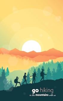 Ein team von freunden erklimmt die berge polygonale landschaft vektorgrafik
