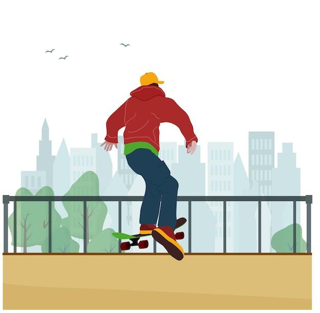 Ein teenager reitet und springt von einem sprungbrett auf einem skateboard in einem skatepark, führt einen trick aus.