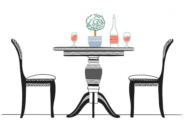Ein teil des esszimmers. runder tisch und stühle. auf dem tisch blumenvase. hand gezeichnete skizze.