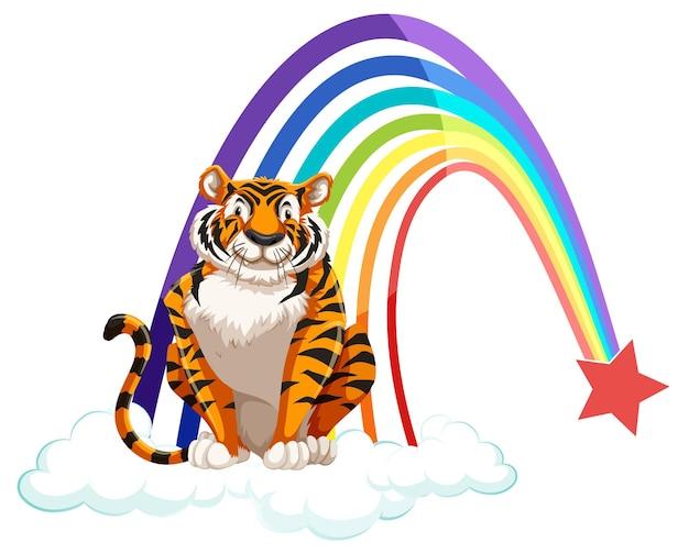 Ein tiger sitzt auf der wolke mit regenbogen auf weißem hintergrund